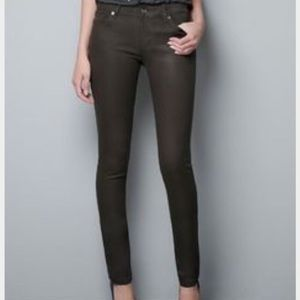 Zara Brown Coated Skinny Jeans
